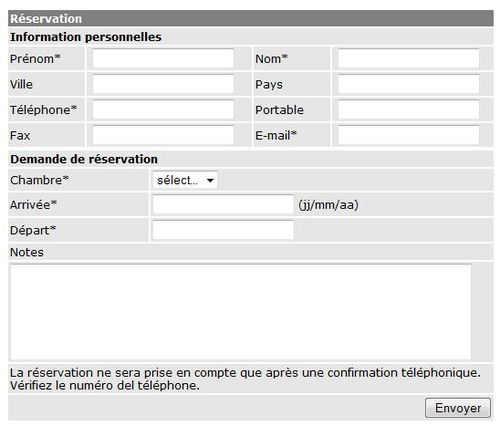 Formulaire de r servation editarea fr for Reservation hotel en ligne