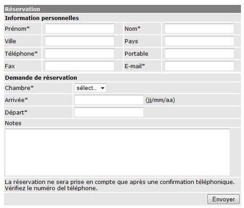 Formulaire de r servation editarea fr for Site de reservation
